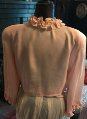 Flash sale Item Pierrot 40s ruffle metallic  Bed Jacket unusual to have padded shoulders Very nice great condition