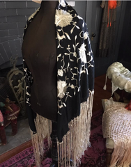 Deco Pola Negri Style Black and Cream Authentic Piano Shawl Statement Wearable or Decor