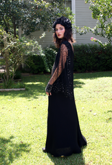 BOOM Elizabeth Taylor Inspired 1970's or earlier Vintage Black Evening Gown Batwinged Lace and Rhinestone Sleeve Dress