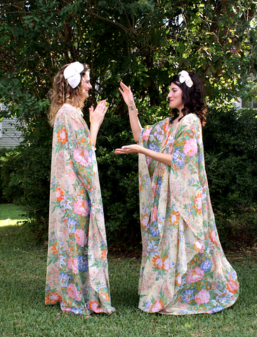 Gorgeous Rare Lucie Ann Beverly Hills Floral Caftan as seen on the Series Feud Festival Dress