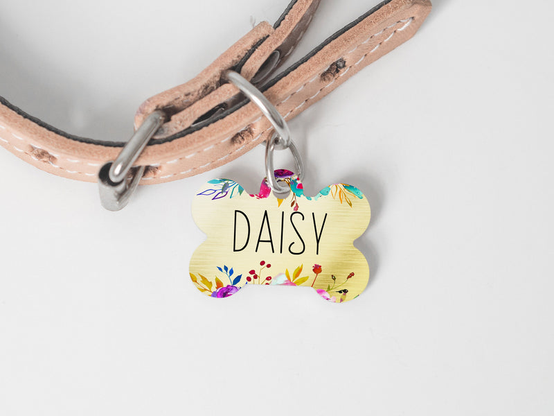 Gold Flower Dog ID Tag for Girl