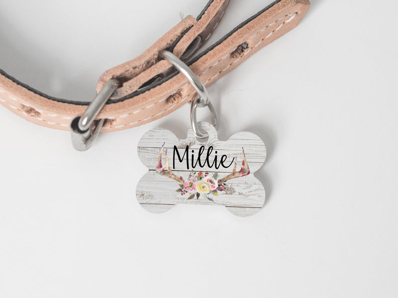 Rustic Floral Antler Dog ID Tag