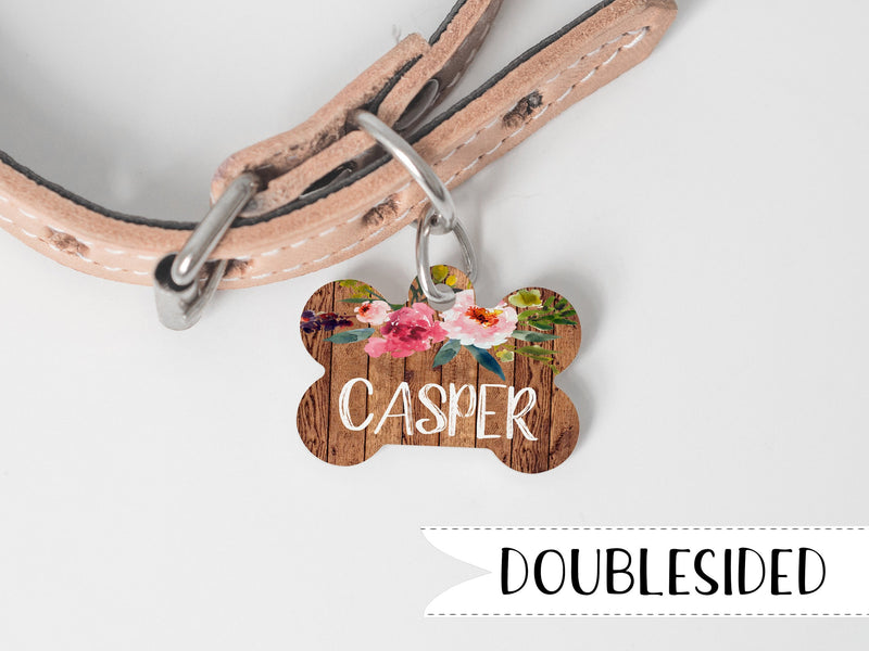 Rustic Dog Tag with Flowers