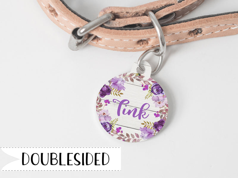 Pet Tag with Purple Flowers