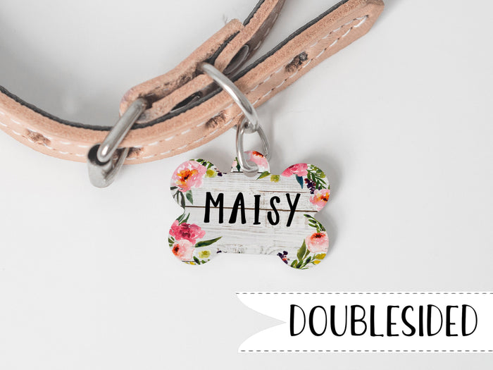 Rustic Floral Dog Name Tag