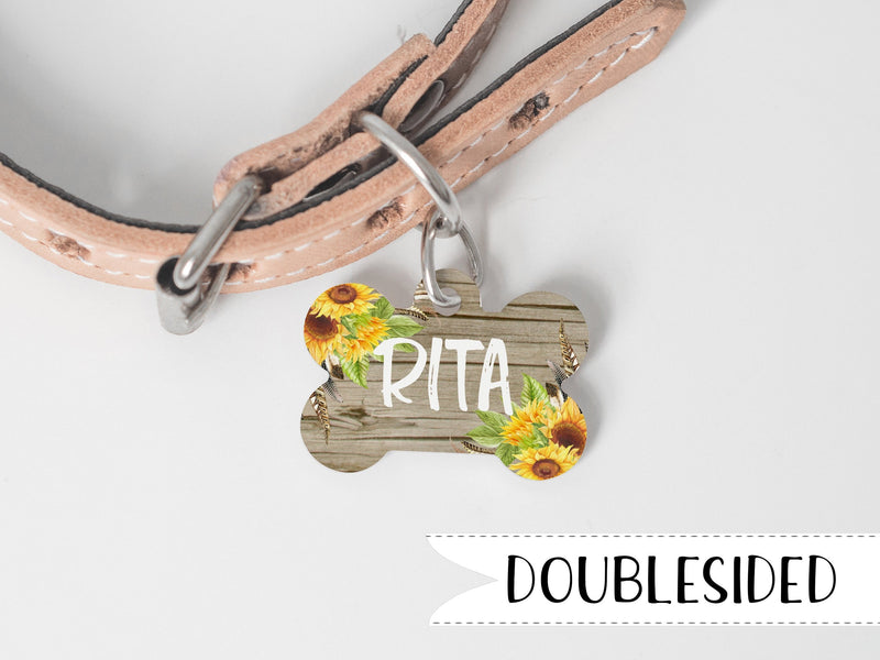 Wood and Sunflower Dog ID Tag