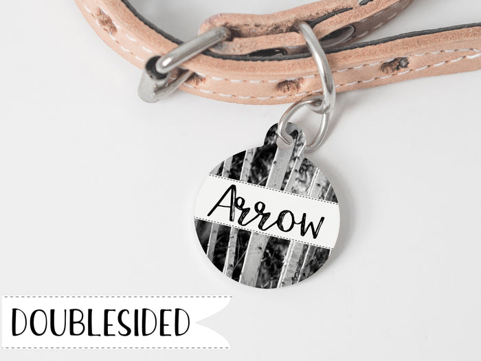 Pet Name Tag with Birch Trees