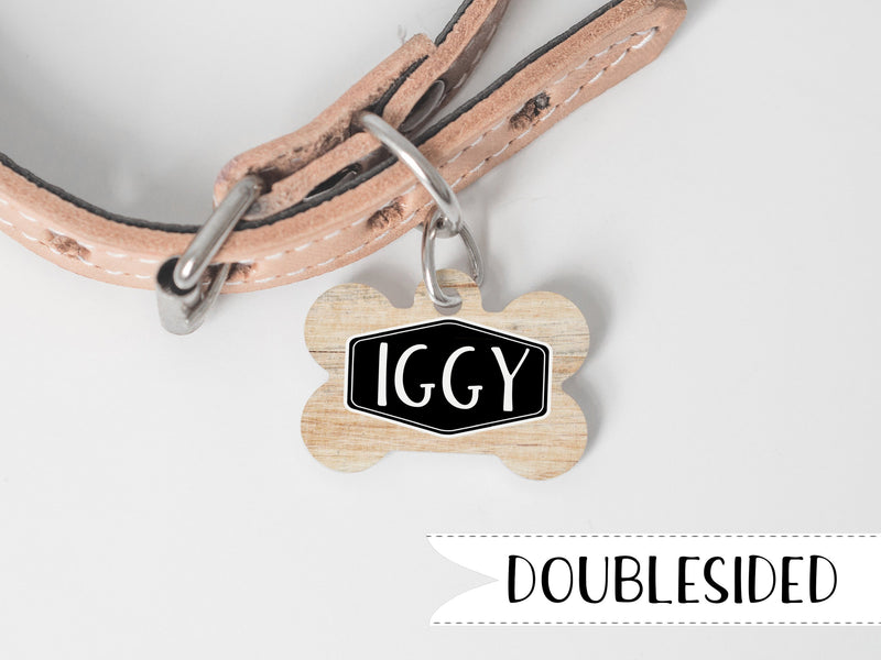 Faux Wood Metal Dog Tag