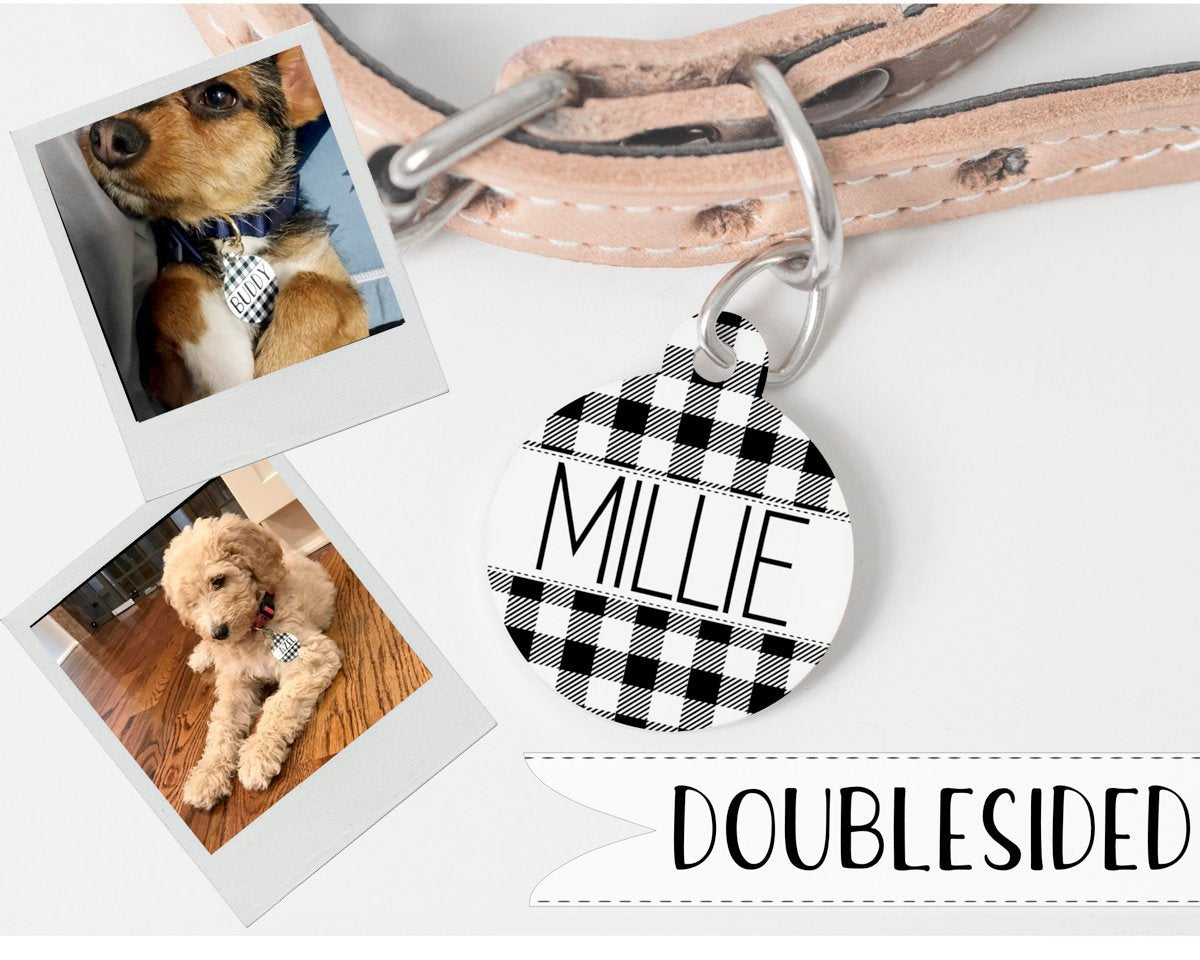 Plaid Personalized Pet Tag