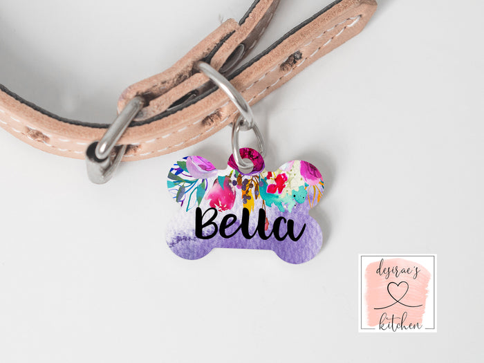 Purple Watercolor Floral Dog Name Tag