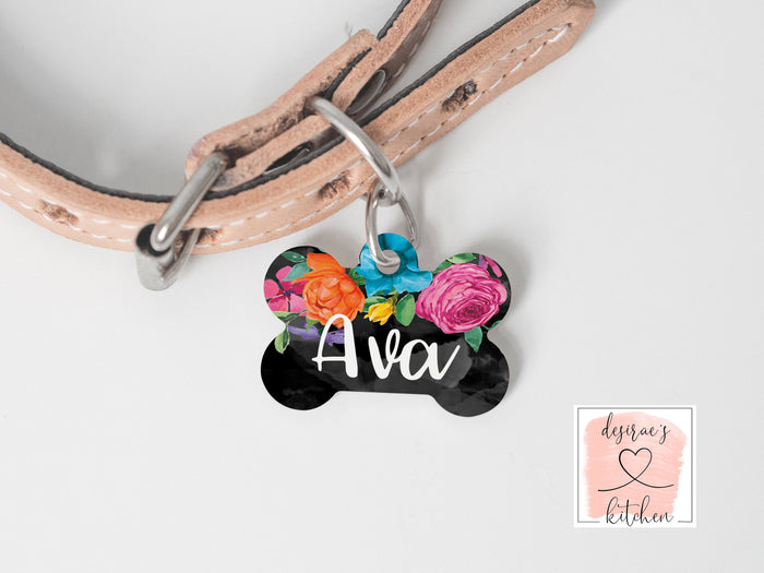 Watercolor Floral Dog Tag
