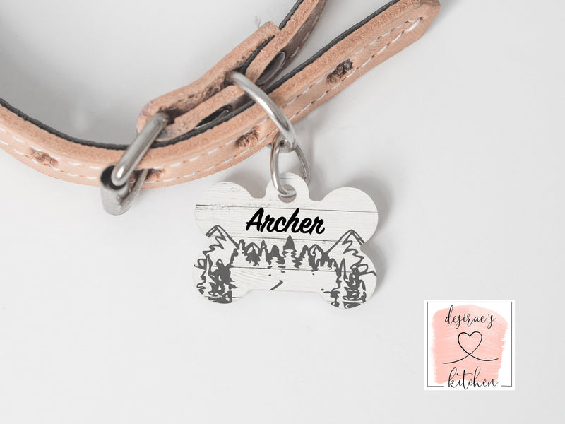 Personalized Mountain Metal Dog Tag