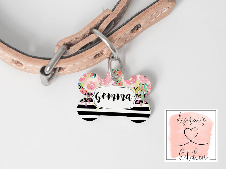 Stripe & Floral Dog Tag