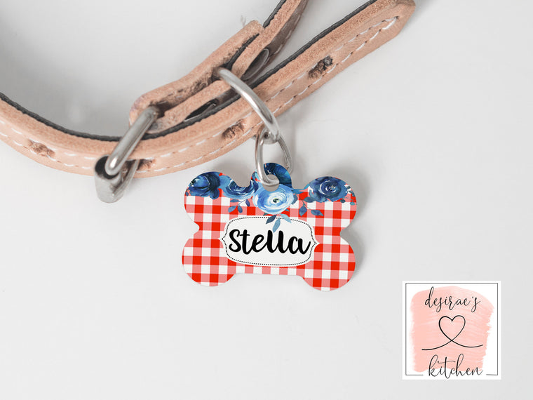Gingham Dog Tag