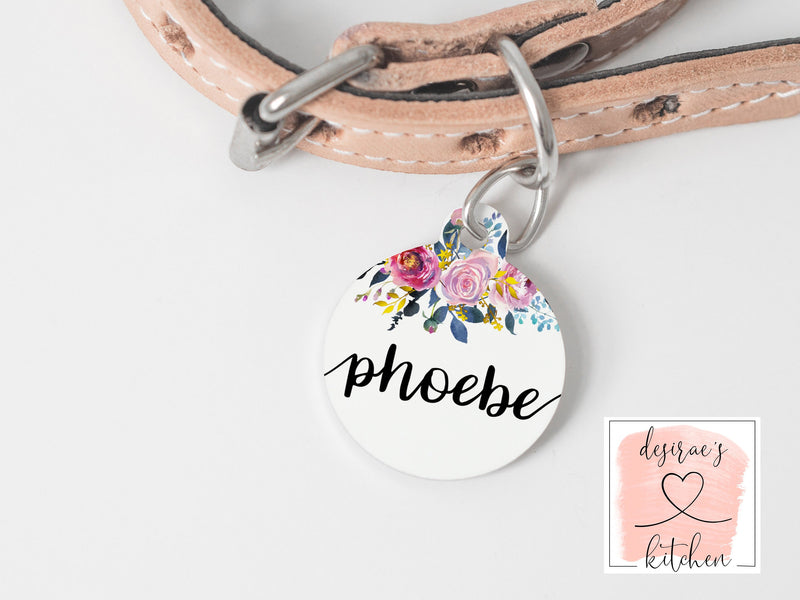 Pet Name Tag with Roses