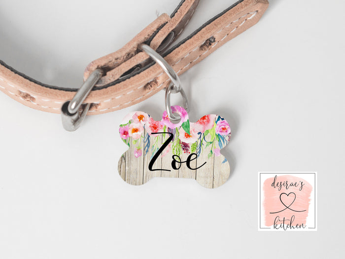 Boho Wood and Floral Dog Name Tag