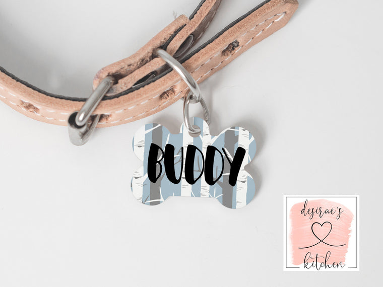 Rustic Birch Tree Dog Tag