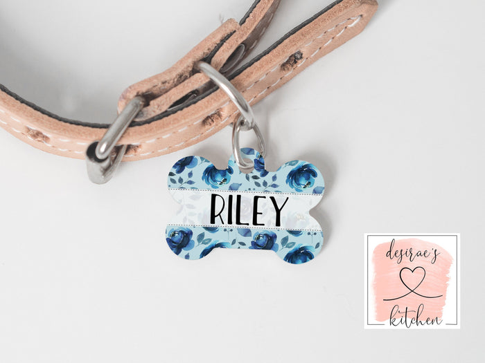 Blue Floral Dog Tag