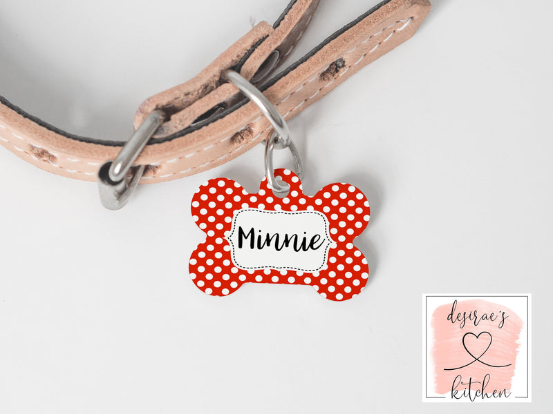 Red Polka Dot Dog ID Tag