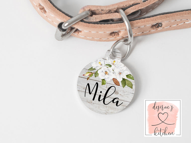 Magnolia Pet Name Tag