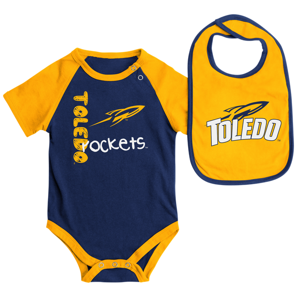 University of Toledo Rockets onesie and bib set