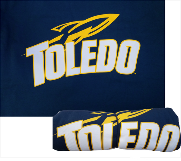 University of Toledo Sweatshirt Blanket Vintage Navy Sport Logo