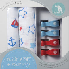 All4Ella Muslin Wraps + Pegs - Nautical Blue