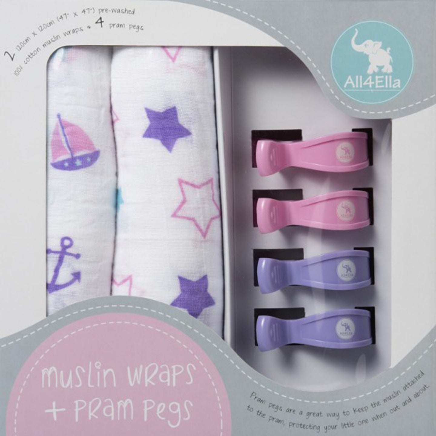 All4Ella Muslin Wraps + Pegs - Nautical Purple