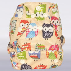 Bam+Boo Newborn All-in-One Cloth Nappy Day Owls Print