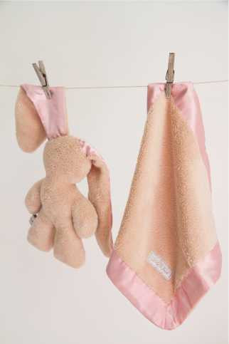 Lily 'n Jack Snuggle Bunny and Blankie Set Caramel and Pink