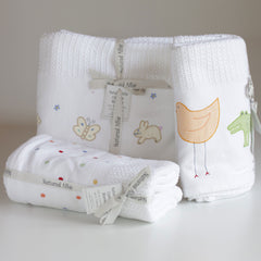 Polka Dot Cellular Baby Blanket -White