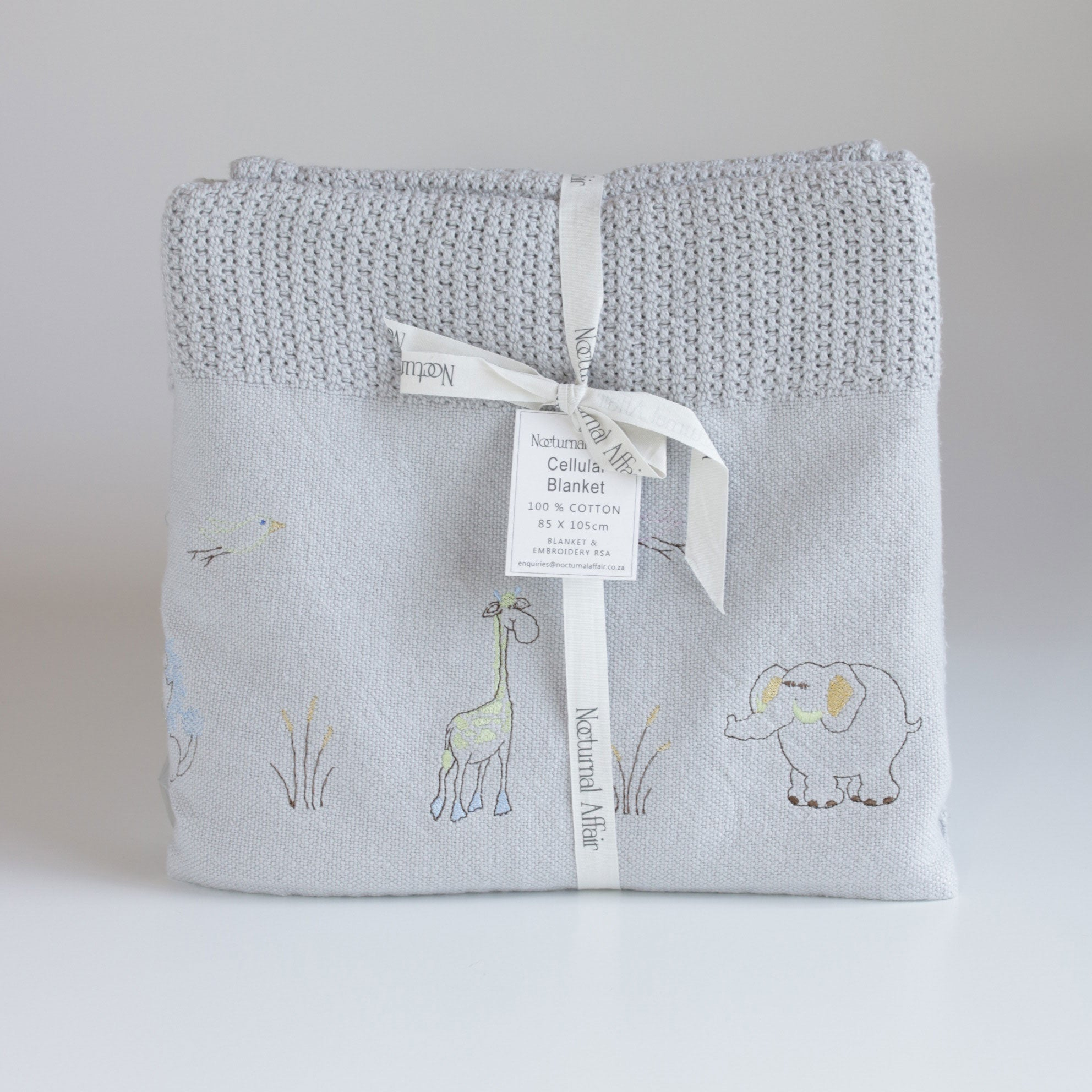 Wild Animals Cellular Baby Blanket - Grey