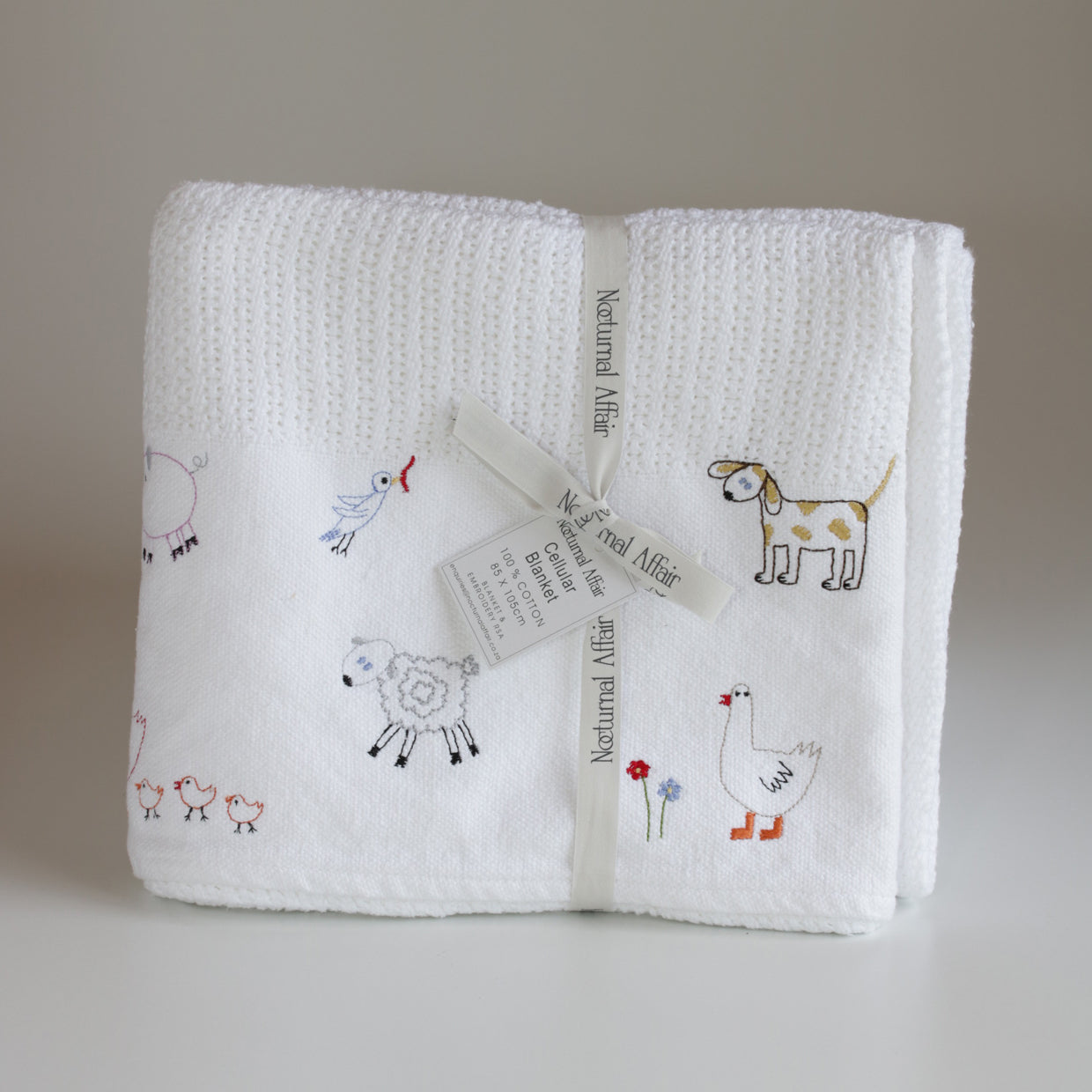 Nocturnal Affair Cellular Baby Blanket - Farm Animals