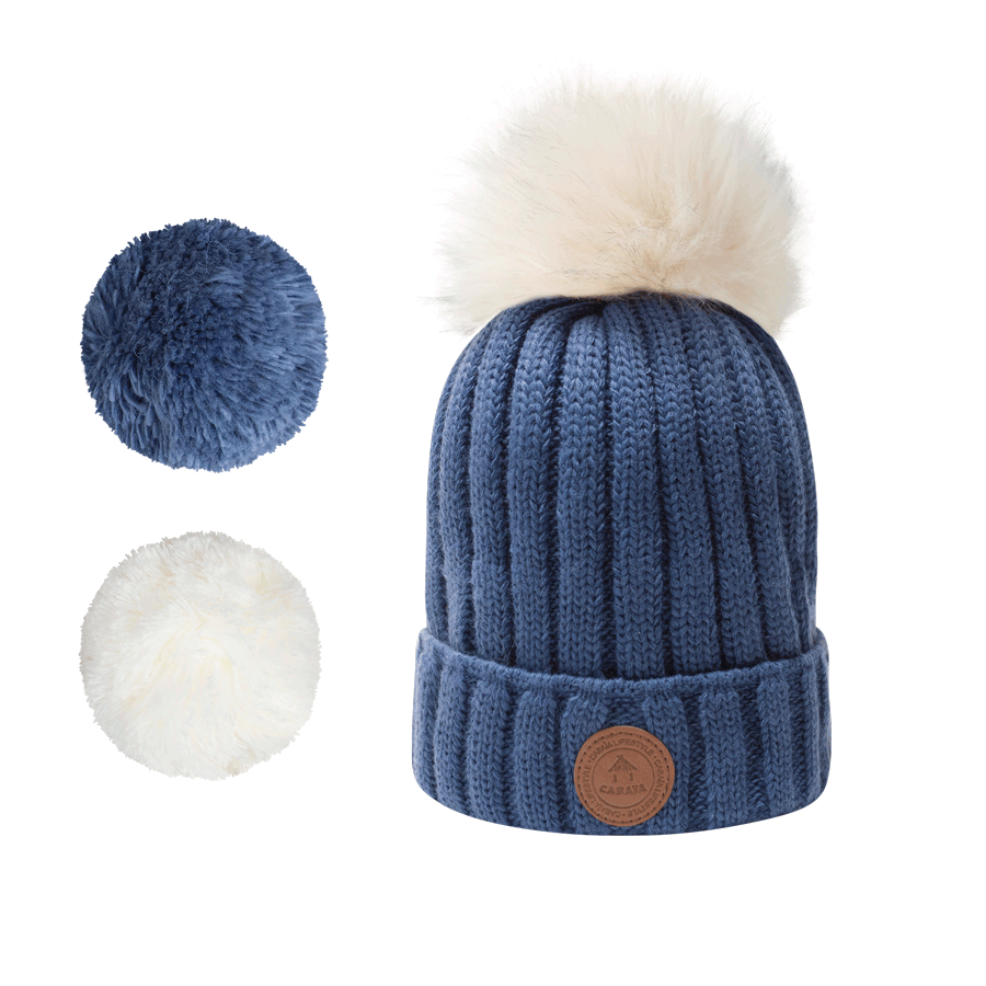 1 bonnet + 3 pompons, Kir Royal Navy Polaire, Cabaïa