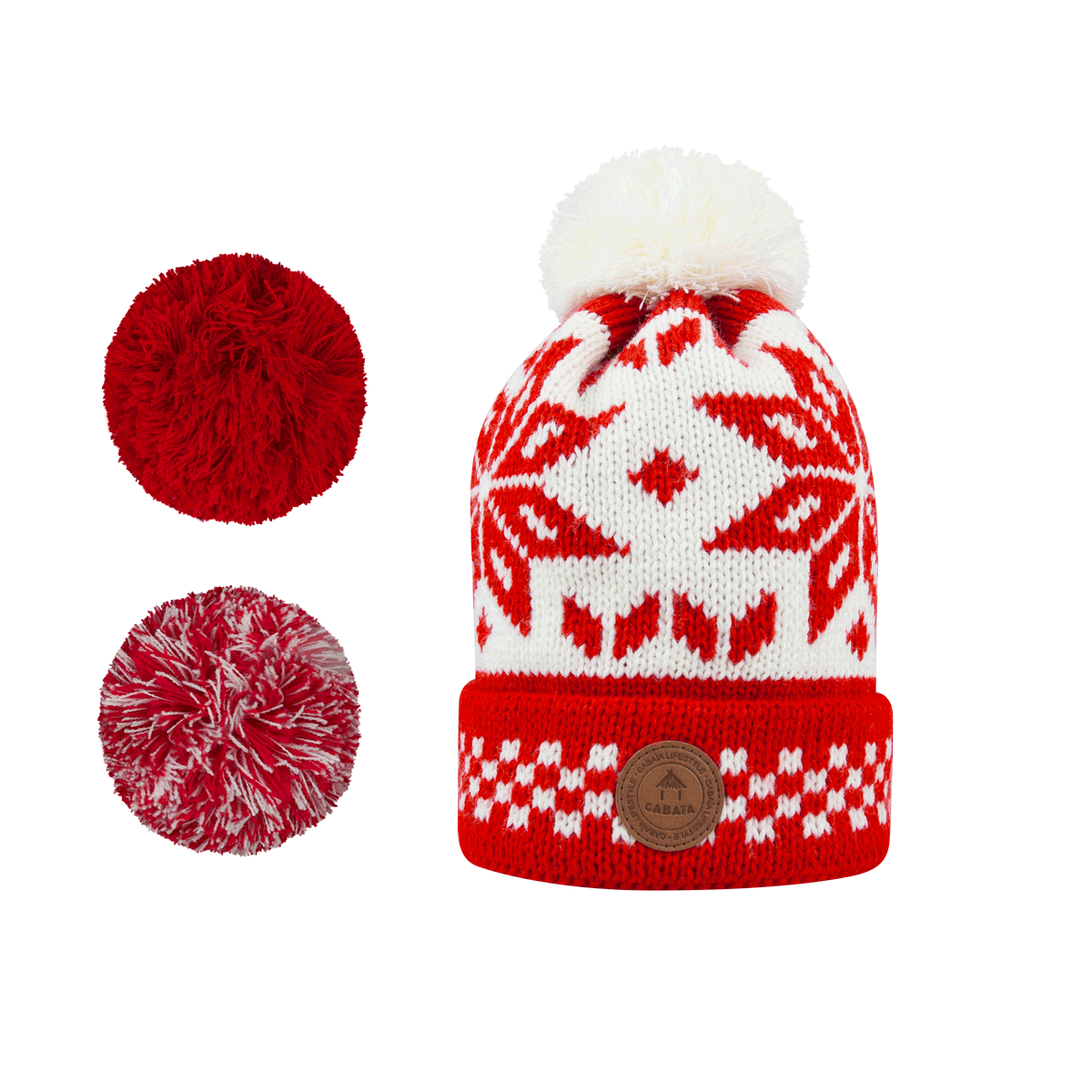 1 bonnet + 3 pompons, Jack Rose Red Polaire, Cabaïa
