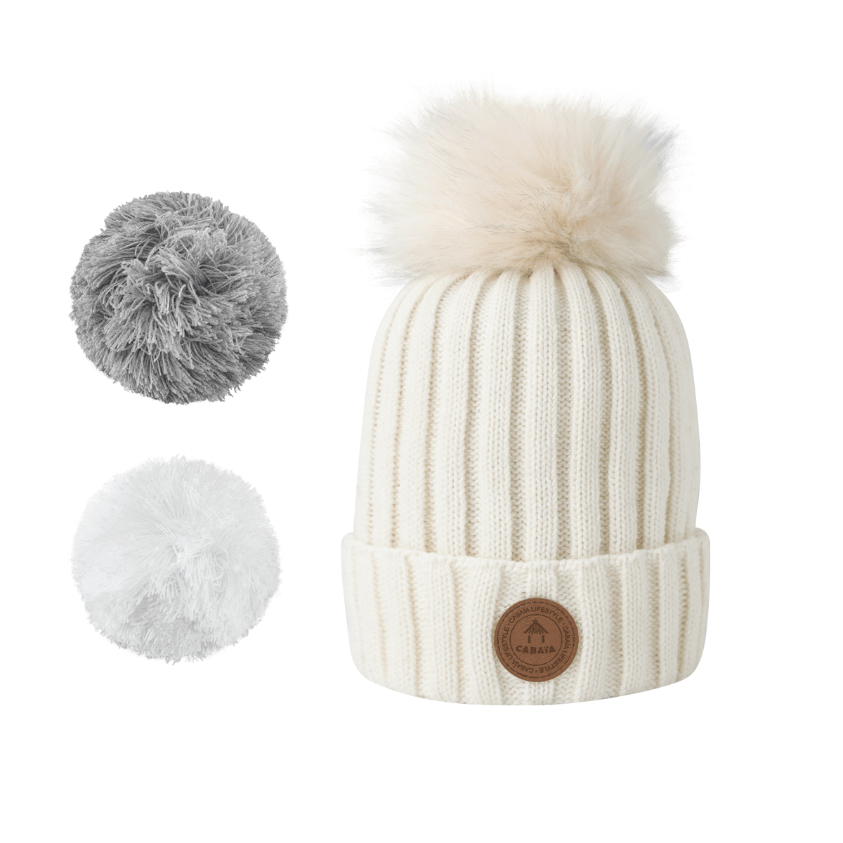 1 bonnet + 3 pompons, Kir Royal White Polaire, Cabaïa