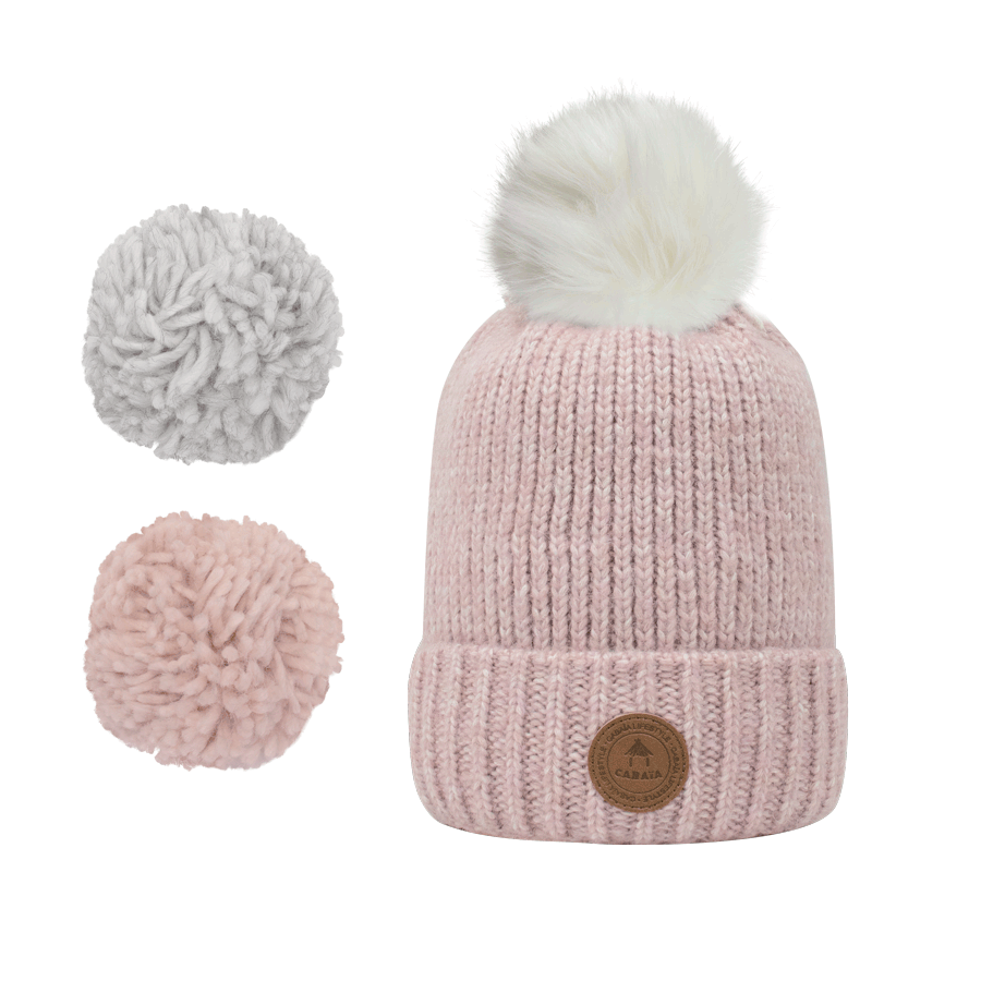 1 bonnet + 3 pompons, Suissesse Light Pink Polaire, Cabaïa