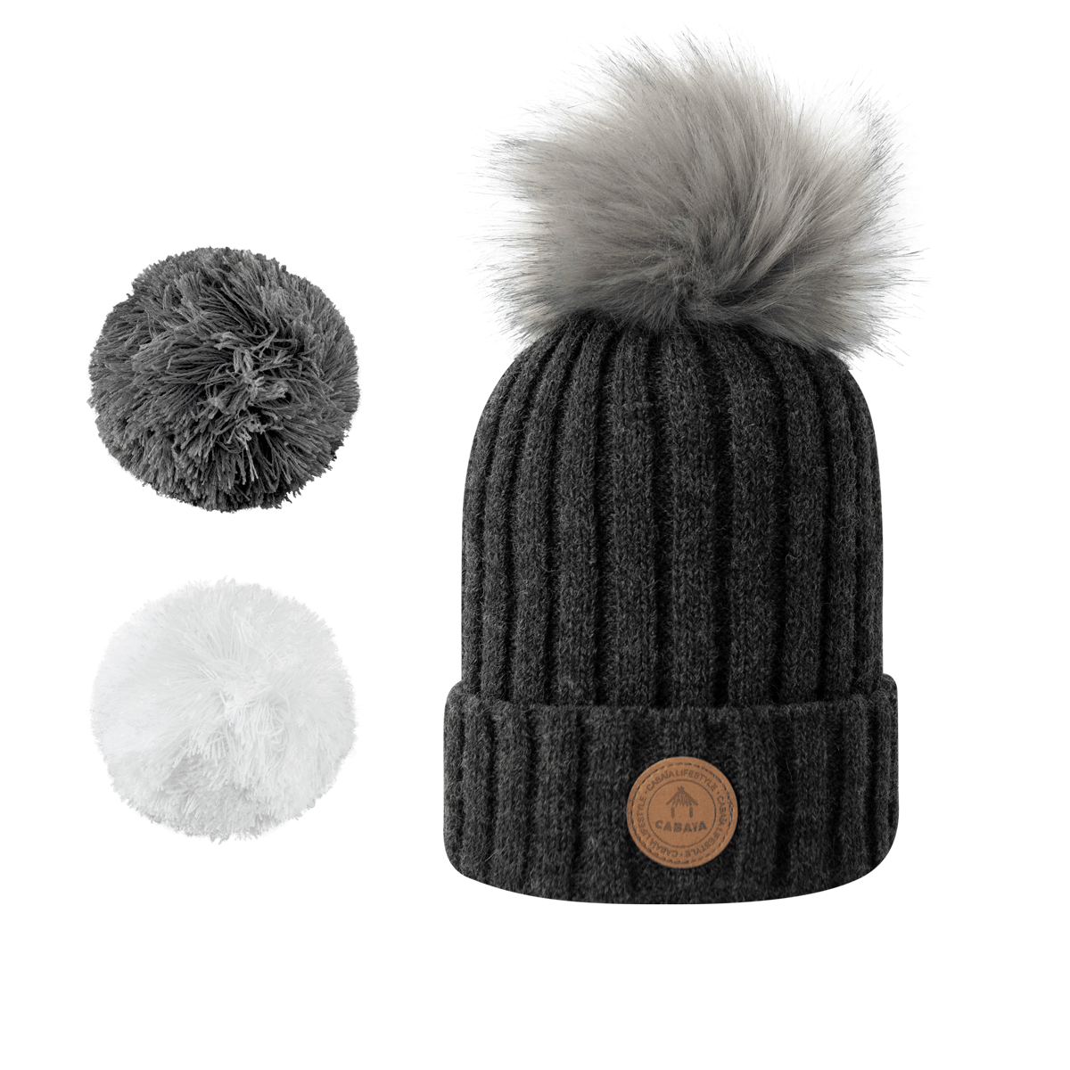 1 bonnet + 3 pompons, Kir Royal Grey Polaire, Cabaïa