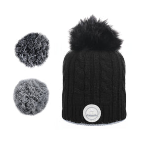 bonnet cabaia pompon français homme femme made in france noir