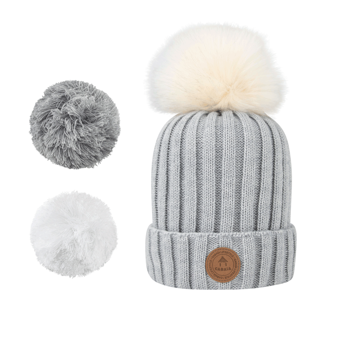 1 bonnet + 3 pompons, Kir Royal Light Grey Polaire, Cabaïa
