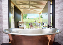 glamping with copper roll top bath