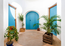 traditional blue spanish doors