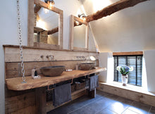 twin bathroom basin wooden top