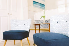 handmade blue white chairs