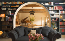 book wallpaper with arch in doorway