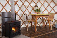 wood burner in yurt