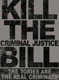 Kill The Criminal Justice Bill T-Shirt / Grey - Future Past Clothing