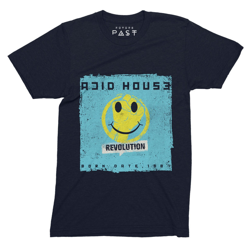 Acid House Revolution 1987 T-Shirt / Navy - Future Past Clothing