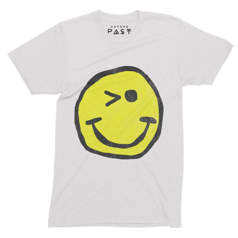 Winking Smiley Loves Acid House T-Shirt / White - Future Past Clothing