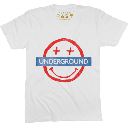Smiley Underground T-Shirt / White - Future Past Clothing